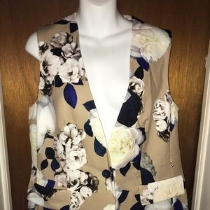 Nine West floral fall style vest navy and cream